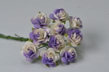 1.5cm LILAC WHITE ROSES Mulberry Paper Roses JJ